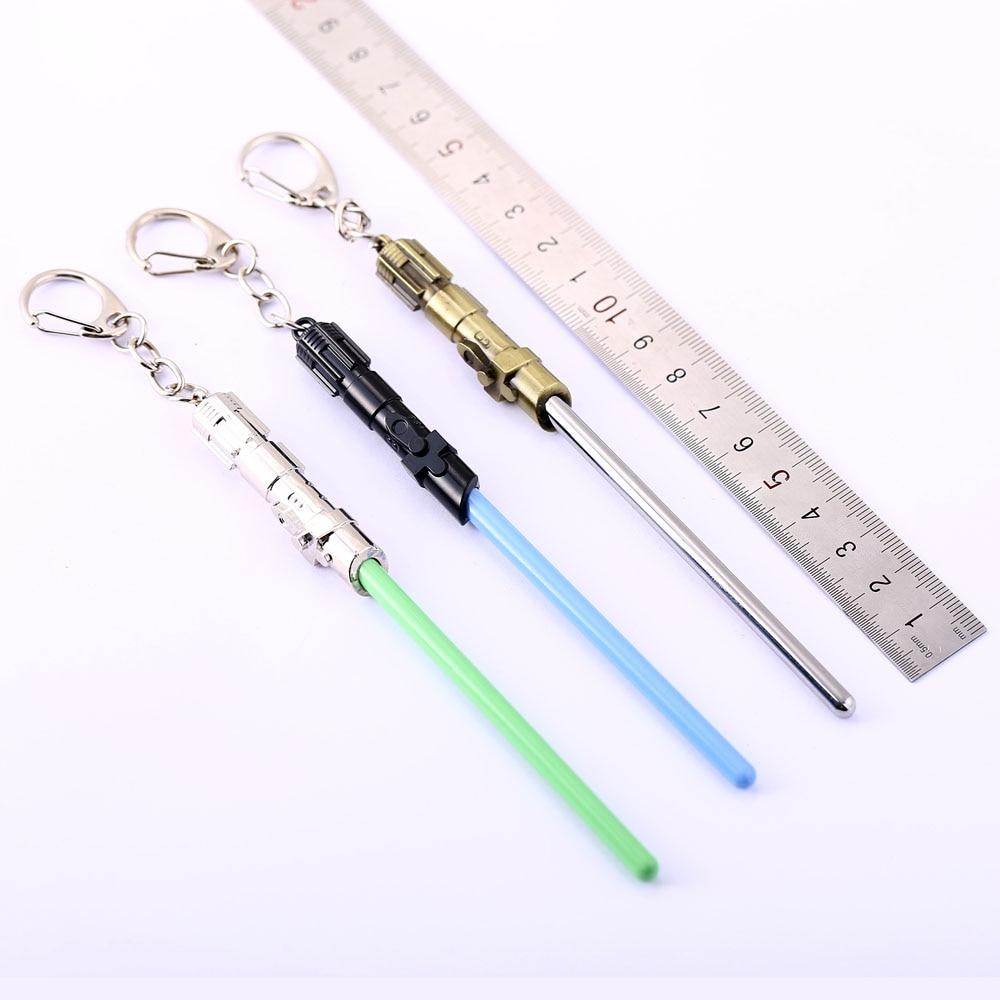 1 PCS Cosplay Toys Star Wars Metal keychain Lightsaber Light Saber Telescopic key ring Figure Toys TY96