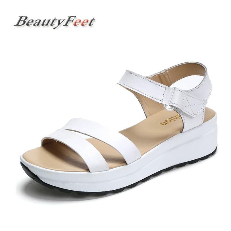 Beautyfeet Peep Compensées Été Plate Cuir Véritable Femme blanc Toe Noir forme Occasionnels Chaussures En Faible Sandales Femmes TwqAvrT