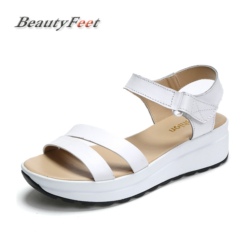 BeautyFeet Women Sandals Genuine Leather Sandals Low Wedges Summer Shoes Female Peep Toe Platform Sandals Women Casual Shoes nemaone new 2017 women sandals summer style shoes woman platform sandals women casual open toe wedges sandals women shoes