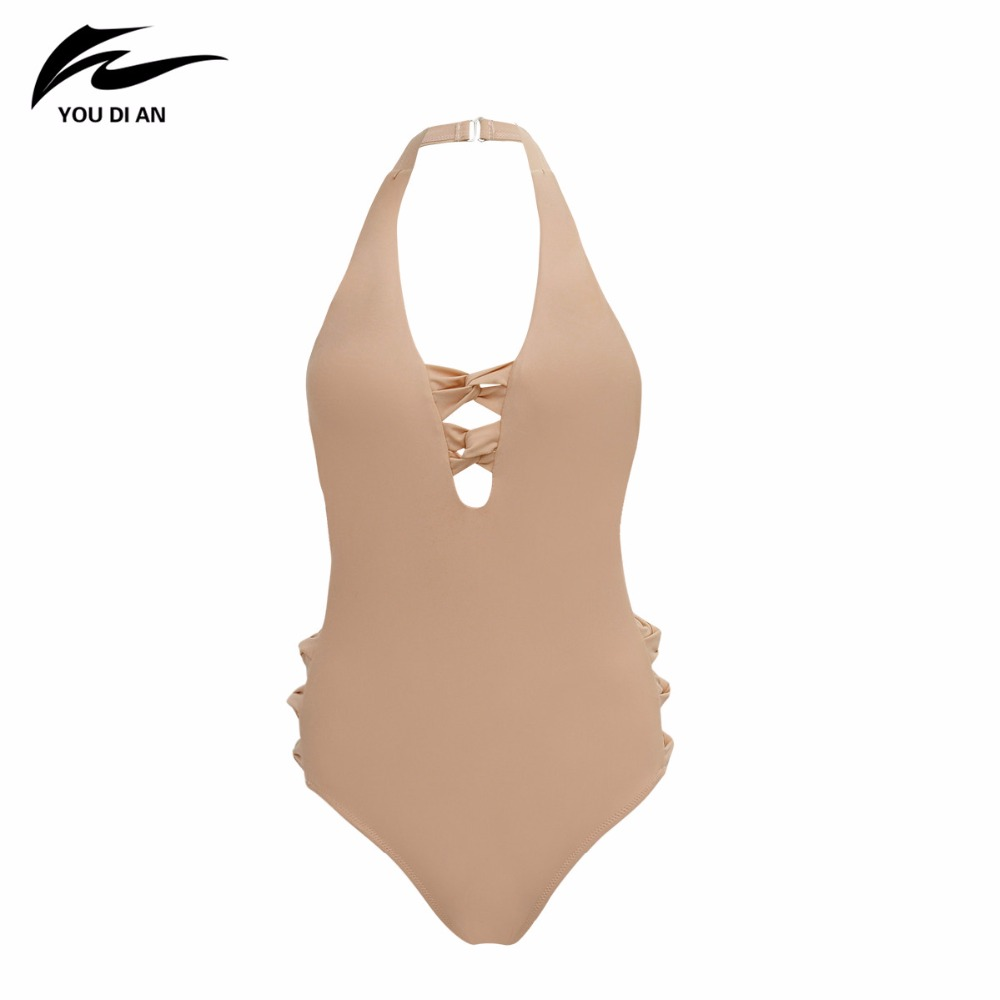 2018 New Arrival Women One Piece Sport Swimwear Sexy Solid Halter Swimsuit Hot Sale Push Up Padded  Bathing suit Beach Wear trendy solid color halter pleated one piece skirt swimwear for women