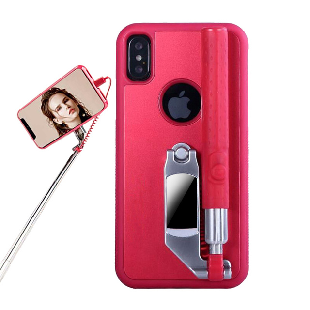 finest selection 49beb a8241 US $20.42 27% OFF|Foldable Stretch Selfie Stick Phone Case For iPhone X  Samsung Galaxy S8 Telescopic Rod Back Cover Portable Handheld Stand Shell  -in ...