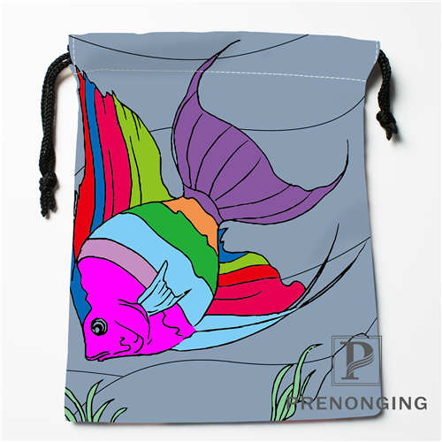 Custom Cartoon Fish Drawstring Bags Printing Fashion Travel Storage Mini Pouch Swim Hiking Toy Bag Size 18x22cm 171203-05-05