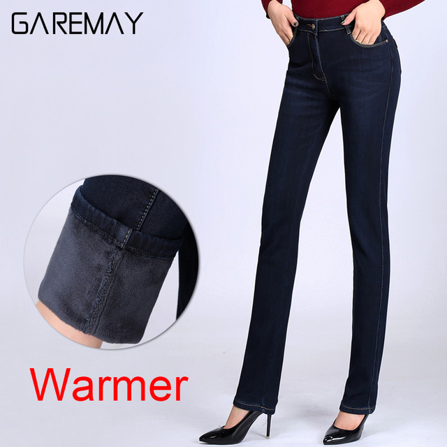 Women's Jeans With High Waist Ladies Warm jeans Elastic Vaqueros Mujer Mama Plus Size Jeans For Women Denim Jeans Femme GAREMAY