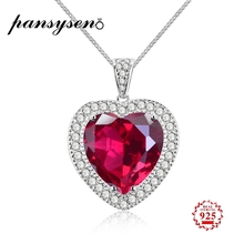PANSYSEN Fine Jewelry Heart Pendant Necklaces For Women Natural Red Ruby Engagement Wedding Sterling 925 Silver Chain Necklace