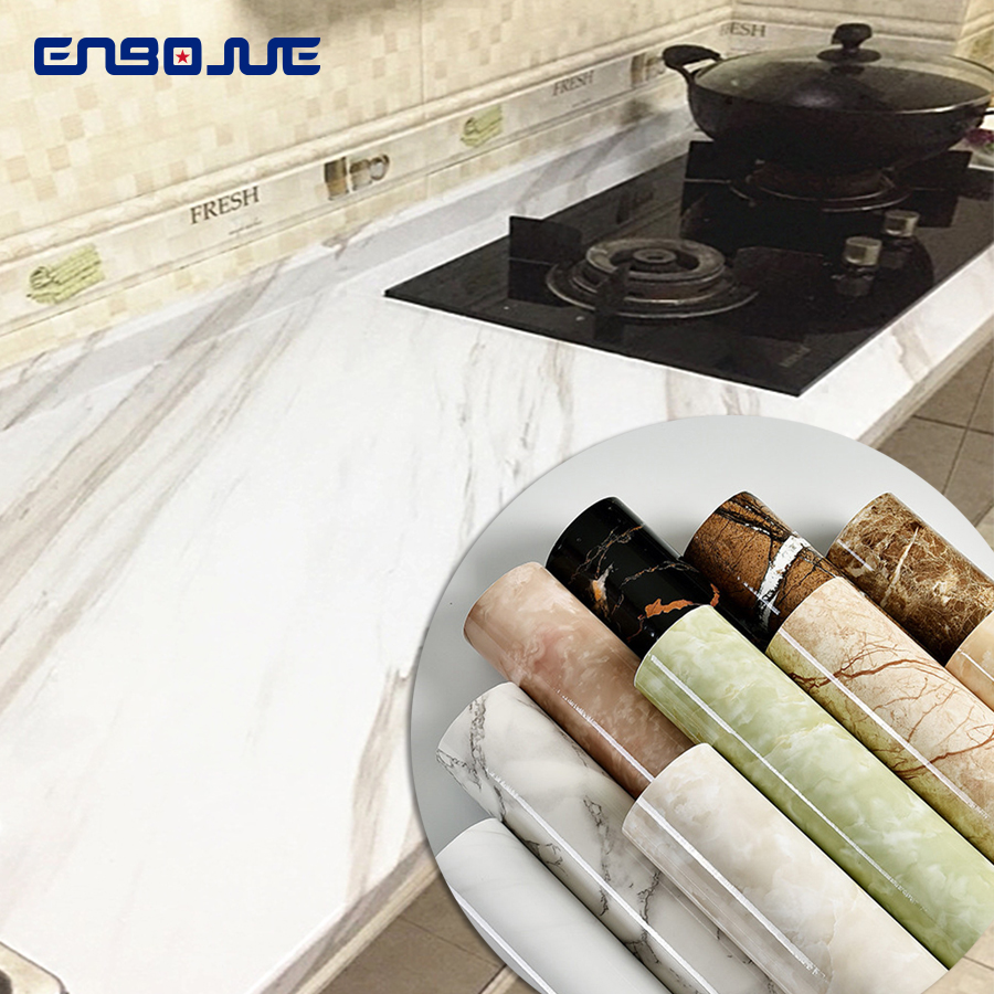 Waterproof Marble Sticker Modern Kitchen Cabinet Table Countertop Furniture Renovation Wallpaper PVC Self Adhesive Wall Sticker
