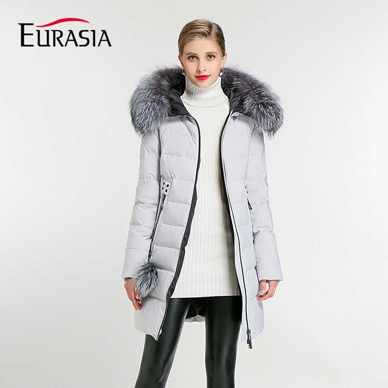 EURASIA Brand 2019 New Full Women Winter Jacket Hood Design Thick Coat Cotton Parka Style Jackets Real Fur Collar BLueY170016