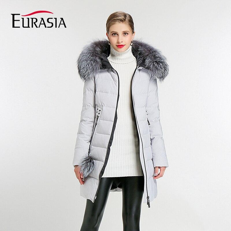 EURASIA Brand 2018 New Full Women Winter Jacket Hood Design Thick Coat Cotton Parka Style Jackets Real Fur Collar BLueY170016