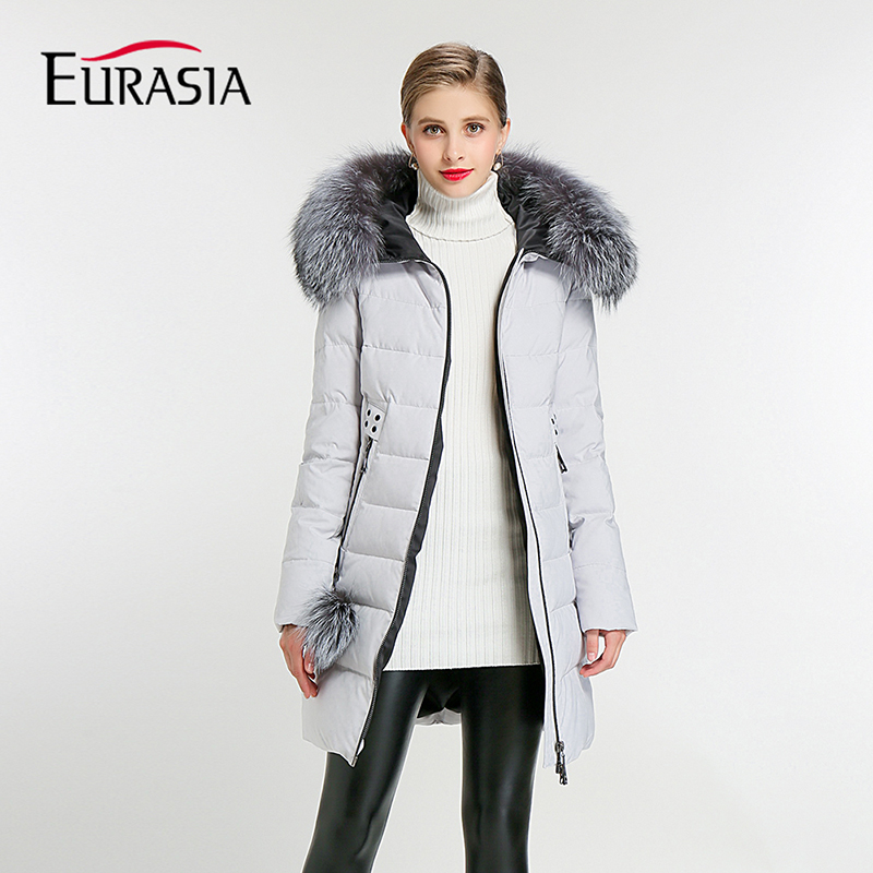 EURASIA Brand 2018 New Full Women Winter Jacket Hood Design Thick Coat Cotton   Parka   Style Jackets Real Fur Collar BLueY170016