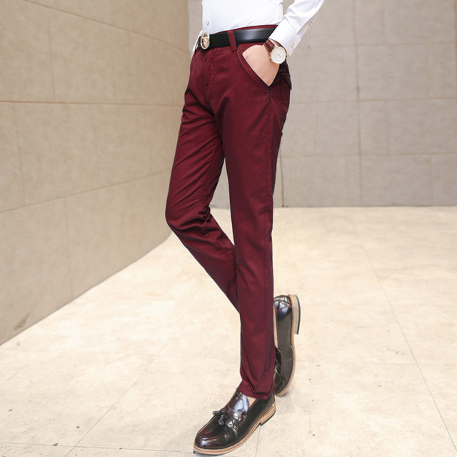 3a6fdc39ace 2019 New Men s Fashionable Fine Quality Comfortable Pure Color Business  Casual Pants   Men Slim Slacks Male Leisure Trousers