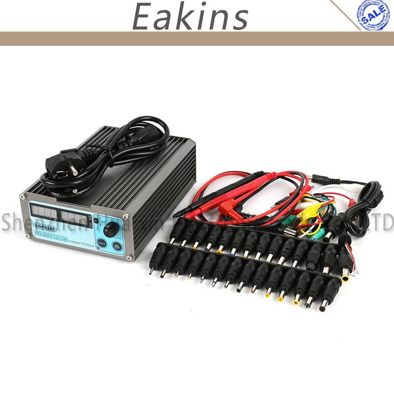 CPS-3205 ii precisão compacta digital dc fonte de alimentação + 39 pces dc jack + 10a sonda 0 32 32 v 0 5a 5a 0.01 v/0.001a para o reparo do computador do laboratório