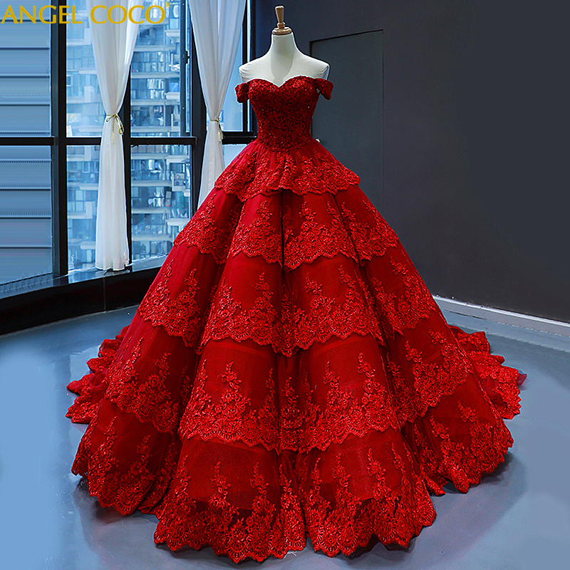 Luxury Shiny Evening Dress Ball Gown Long Off Shoulder Sweetheart Red Evening Gown 100% Real Photos Prom Dresses Robe De Soiree