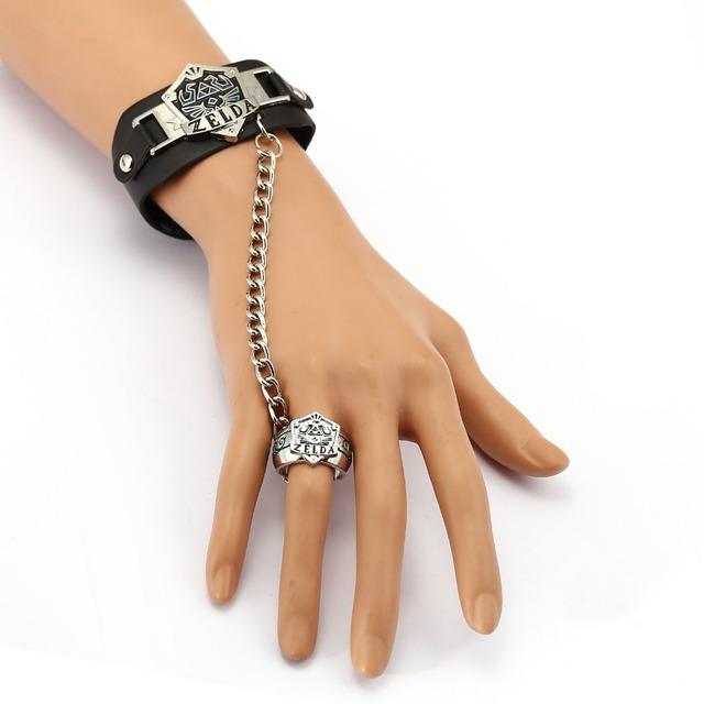 The Legend of Zelda Leather Bracelet Link Charm Bracelets Game Cosplay Punk Bangle Men Women Jewelry YS11949