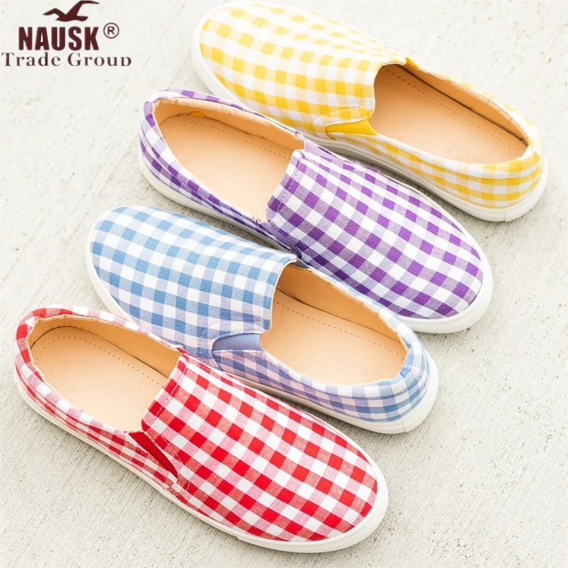 NAUSK Canvas Shoes Foot-Pedal Slip-On Korean-Students Fashion Flats Spring-Light Candy-Color