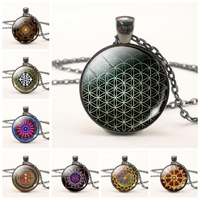 Intellective Flower Of Life Necklace Sri Yantra Glass Cabochon Pendant Necklace Mandala Spiritual Yoga Jewelry Fashion Accessories For Women