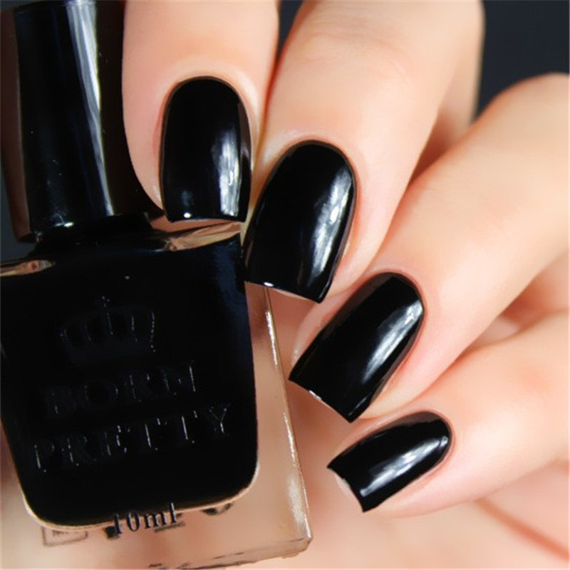 Black BORN PRETTY Nail Polish 10ml Long Lasting Manicure