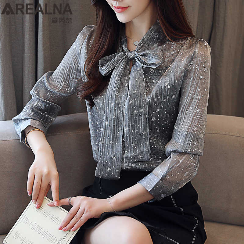 08e77263fbd See Through Top Women Sexy Shirt 2018 Korean Style Long Sleeve Chiffon Blouse  Women Shiny Star