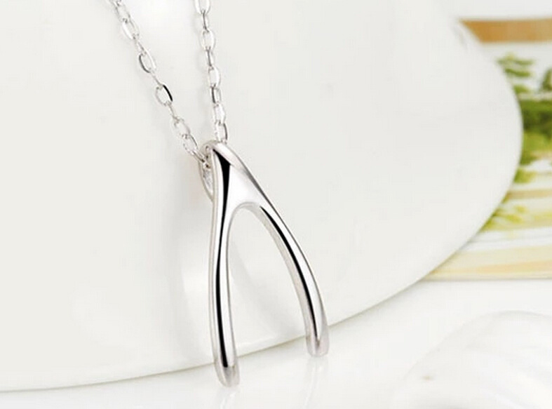 Silver Necklace Jewelry Fashion Classic Aesthetic Exquisite Wishing Wishbone Clavicle Necklace DD13