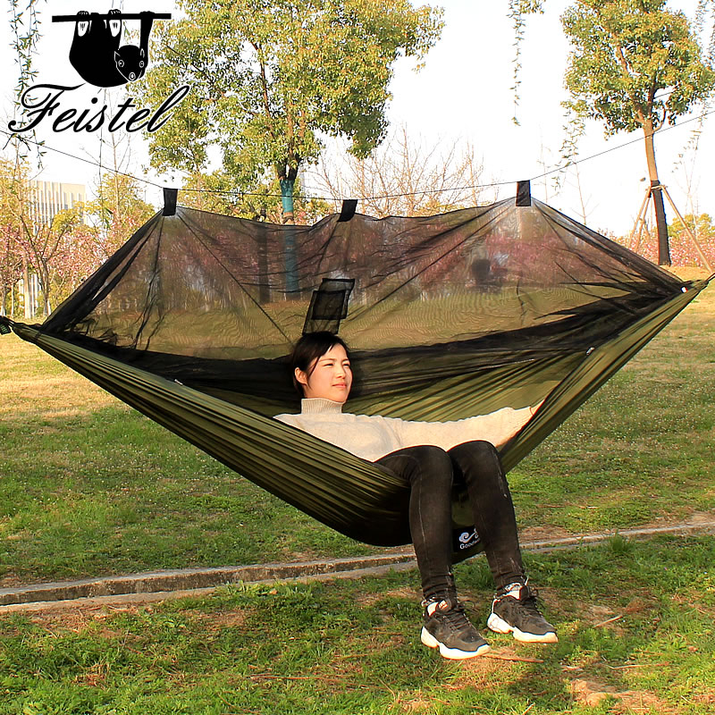 Single and double mosquito net hammocks. Summer camping essentialSingle and double mosquito net hammocks. Summer camping essential