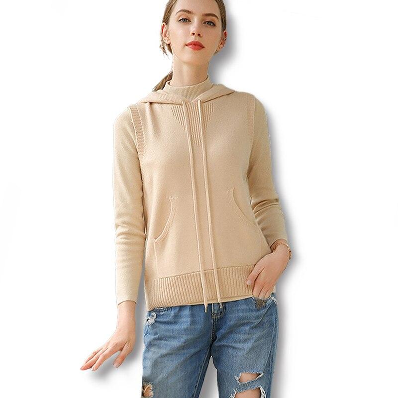 2018 Winter Neue Frauen Mit Kapuze Kragen Stricken Weste Tasche Cashmere Sleeveless Pullover Mode Spiel Frauen Kleidung Weibliche Swaeter