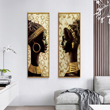Wall Art Canvas Home Decor Painting Beautiful African Woman Gold HD Print Modern Posters Cuadros Modular Pictures Living Room(China)