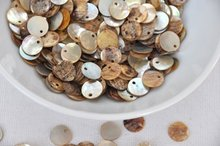 1200pcs mother of pearl button jewelry making materials 10mm-11mm shell beads side holes D15