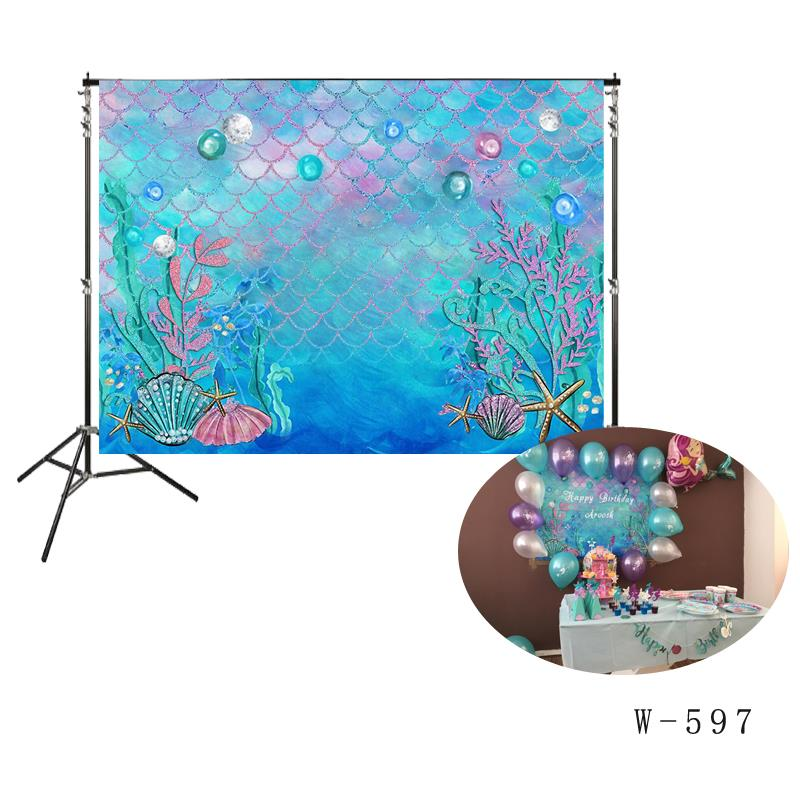 Little Mermaid Birthday Party girl princess backdrop Photo photocall background wall wallpaper Turquoise under the sea backdrops