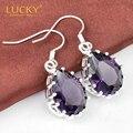 Free Shipping - Shiny Crystal Earring Romantic Purple Amethyst Dangle Earrings For Women Wedding Party Jewelry E0207