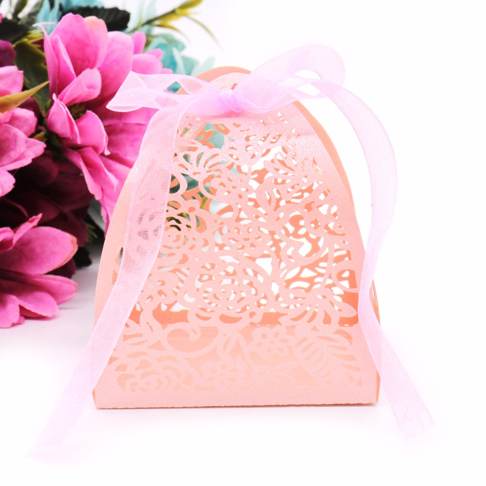 50pcs Wedding candy box Guest gift Laser Cutting Lace Flowers ...
