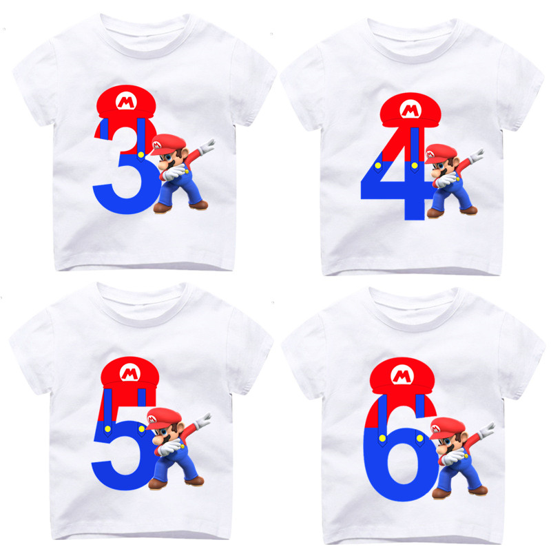 2 9 Years OldBoy Girl Happy Birthday Number 19th Dabbing Super Mario T Shirts Kid Baby Children Tops Tee Gift Present