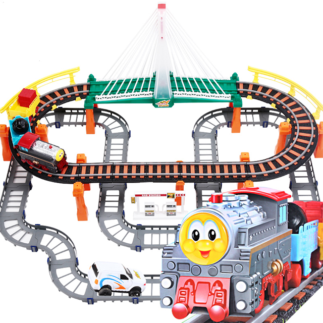 Big Children Toys Electric Thomas Rail Car Kids Train Track Model Slot Toy Baby Racing Car Double Orbit Car Birthday Gift d418 thomas train track toy electric toy happy farm gift set eyes will move
