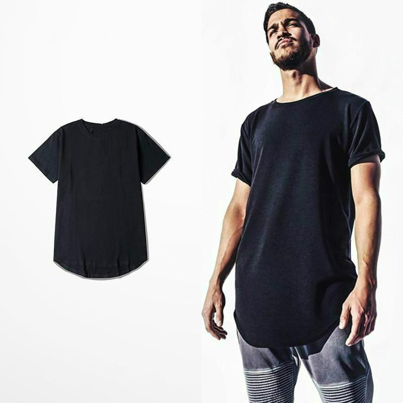 New Mens Big And Tall Clothing Designer City Trends Clothes T Shirt Homme Curved Hem Tee Plain Swag Extended T Shirt Kpop