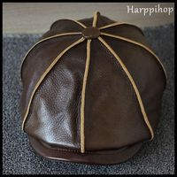 Harppihop 2017 New Real Genuine Cow Leather Hat Cap Headgear Cowhide Warm Winter Cotton Men