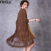 Artka Women's 2018 Autumn 2 Colors Boho Style Tassel Cardigan Vintage V Neck Long Sleeve Single Breasted Knitwear WB10177C