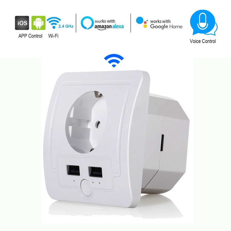 Wifi Smart EU Wall Socket With 2 USB Ports 15A Timer Switch Control Outlet Voice Control Work Amazon Alexa,Goole Assistant,IFTTT