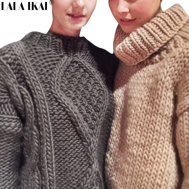 Winter Vintage Women Cable Knit Sweater Thick Chic Hand Knitting