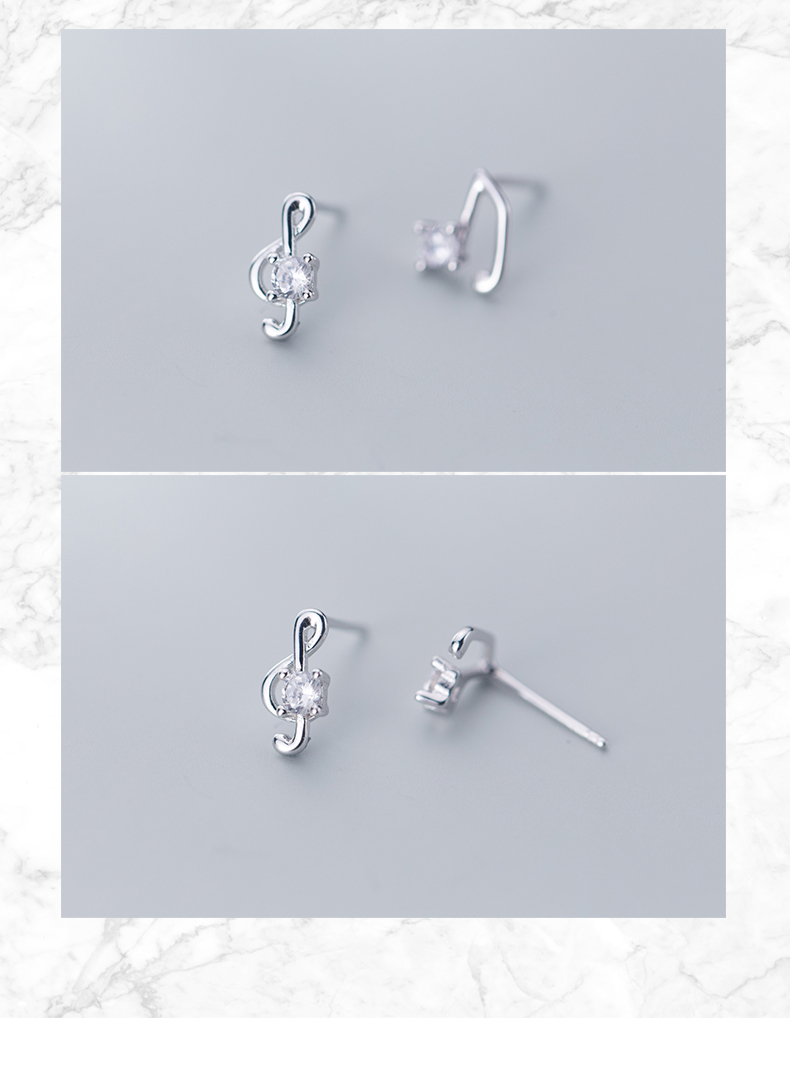 925 Solid Real Sterling Silver Asymmetry Music Notation Earrings