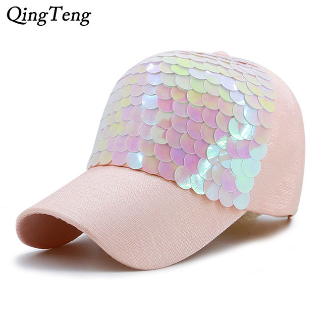 70c66a7cdd6 Baseball Cap Women Pink Fish-Scale Sequins Caps Casual Snapback Hat For  Girl Casquette Gorras