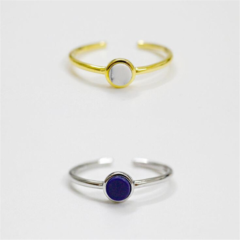 100% 925 Sterling Silver Jewelry Exquisite Blue and White Stone Open Rings for Women anello