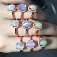 Natural Oval Opal Stone Solid Silver 925 Ring Women Real 925 Sterling Silver Natural Fire Stone Jewelry Female Thin Cufff Ring