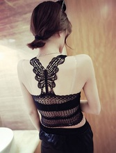 2015 Summer Style Bow Hollow Lace Athletic Sports Bra Cropped Tank Tube Tops Camisole Sleeveless Vest Leisure Women Intimates