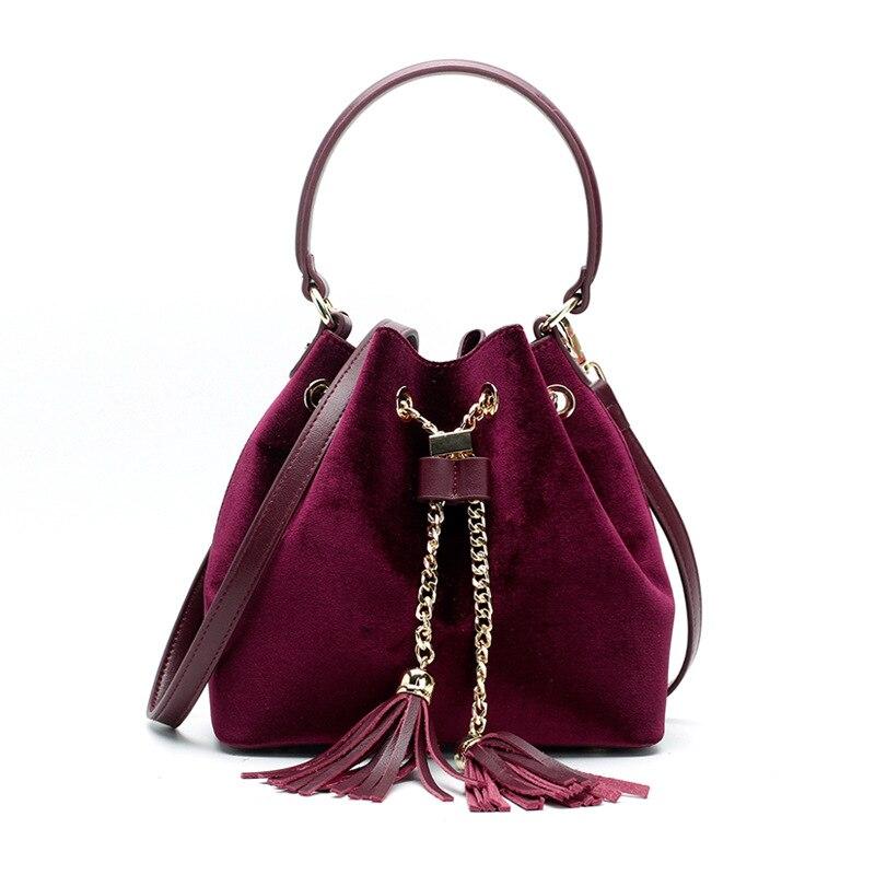 2018 Autumn and Winter Luxury Women's Bucket Bag Genuine Leather Velvet Ladies Handbag Tassel Female Messenger Bag Gold Chain 2018 autumn and winter luxury women s
