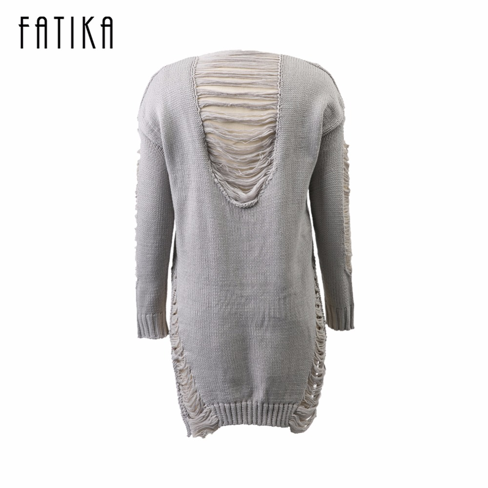 FATIKA Fashion Autumn Winter Dress Women O Neck Long Sleeve Solid Knitted Hollow Out Front Short Back Long Midi Dress For Ladies