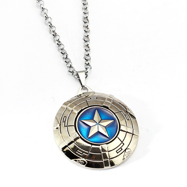 Captain America Necklace The Avengers Rotatable Pendant Fashion Stainless Steel Chain Necklaces Gift Jewelry Accessories 2