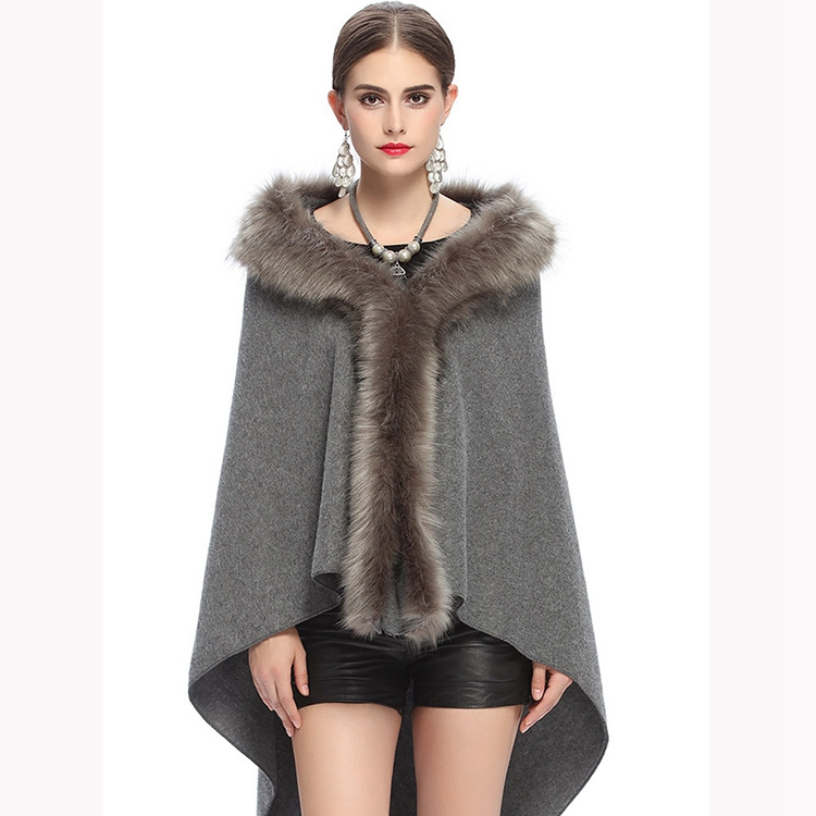 elegant womens wraps and shawls with fur long fashion cashmere Cashmere Cardigan with fur collar trim Scarf Cape good quality