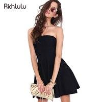 RichLuLu Sexy High Waist Strapless Women Dress Black Slim A-line Dress Backless Sleeveless Party Club Vestidos Mini Dress