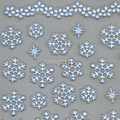 2 Sheets/lot Christmas Silver 3D Nail Art Stickers Decals Decoration Snowflake Design BLE131J