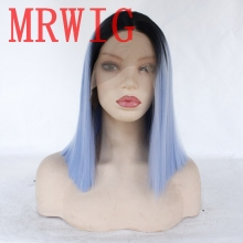MRWIG More Picture Color Short Bob Straight Ombre red/Grey/Blue Synthetic Front Lace Wig Middle Part 12in 150%Density for Woman
