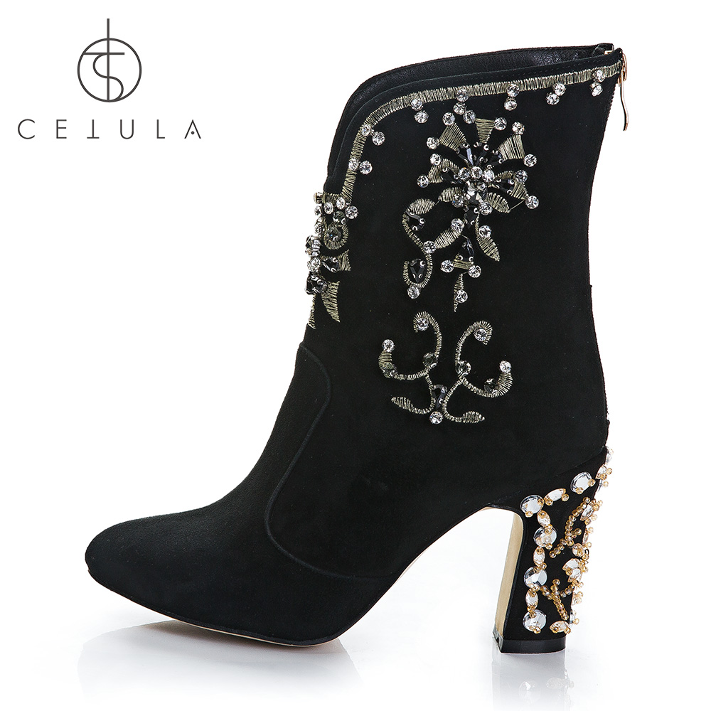 Cetula-2018-Handcrafted-Gold-Floral-Embroidery-Ft-Diamonds-Suede-Female-Ankle-Boots-Yellow-Crystals-Diamonds-Block (1)