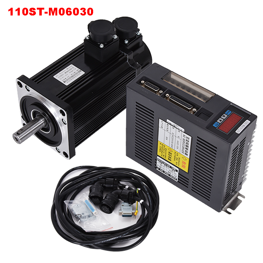 1.8KW AC Servo Motor 3000RPM 6N.M 110ST-M06030 220V AC Servo+AC Servo Driver+3M Cable Complete Motor kit High quality best price great quality servo system kit 6n m 1 8kw 3000rpm 110st ac servo motor 110st m06030 matched servo driver