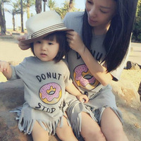 Summer Style Mother Daughter Matching Dresses Cotton Letter Doughnut Printing Fashion Tassels Mother And Daughter Clothes